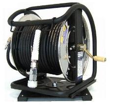 ステンレス製 高圧スーパースムージーホースドラム(回転台付) GHD-630TC-S(ブラック)