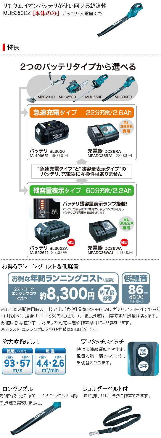 マキタ 36V充電式ブロワ MUB360D
