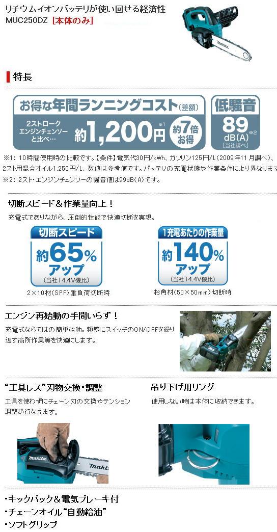 マキタ 36V充電式チェンソー MUC250D
