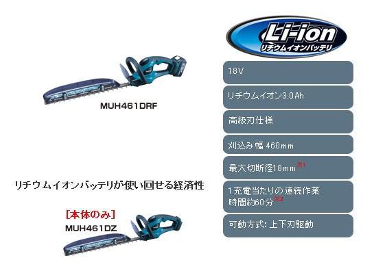 マキタ 18V充電式生垣バリカン MUH461D