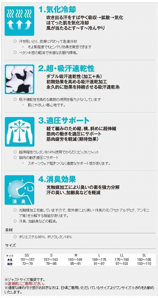 Cool Support(適圧吸汗速乾インナー:長袖ローネックシャツ)No.7122