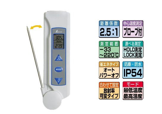 シンワ 放射温度計D プローブ付 放射率可変タイプ 73017
