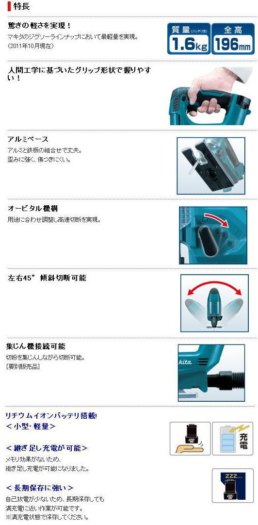 マキタ 充電式ジグソー JV100DW
