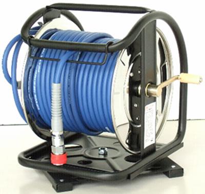 ステンレス製 高圧ホースドラム(回転台付)
