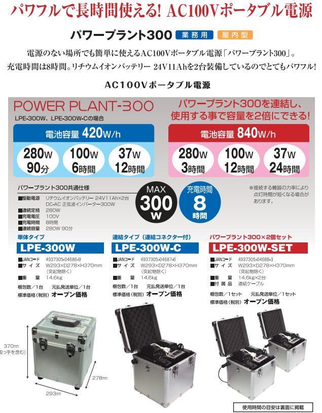 日動工業 ACポータブル電源「パワープラント」LPE-300W