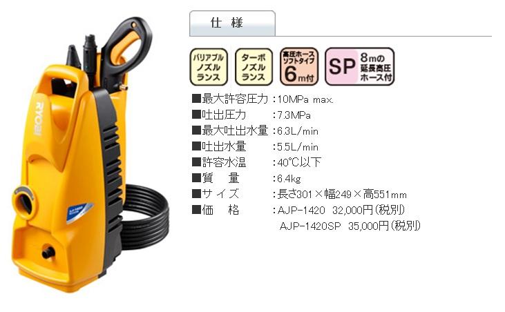 リョービ 高圧洗浄機 AJP-1420 / AJP-1420SP