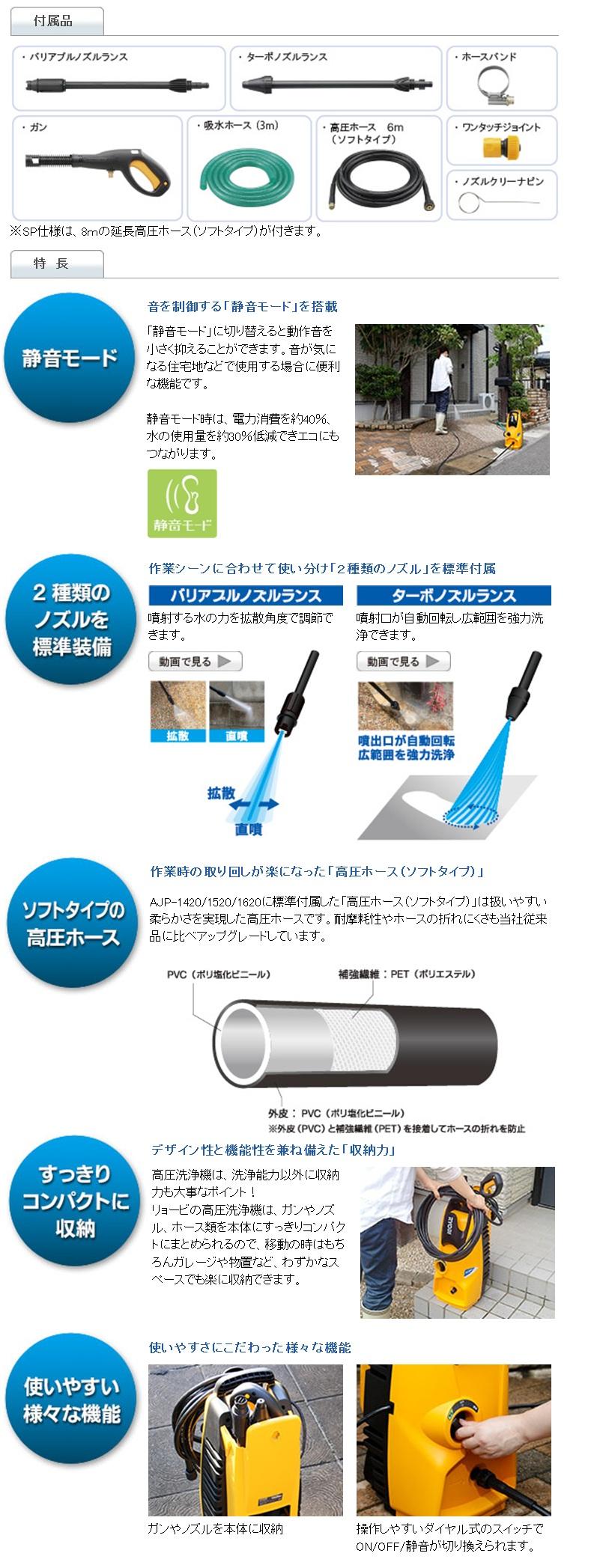 リョービ 高圧洗浄機 AJP-1520/AJP-1520SP