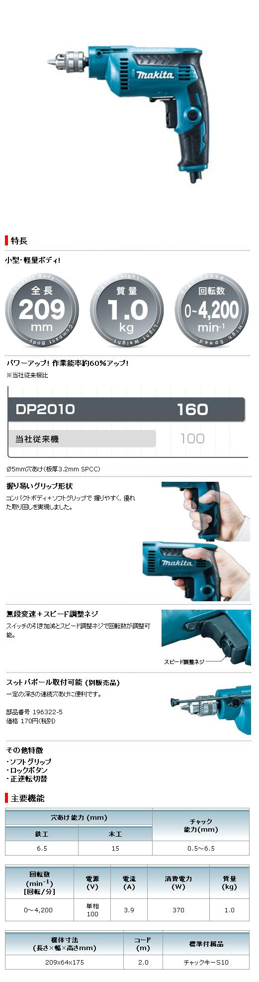 マキタ 6.5mm 高速ドリル DP2010