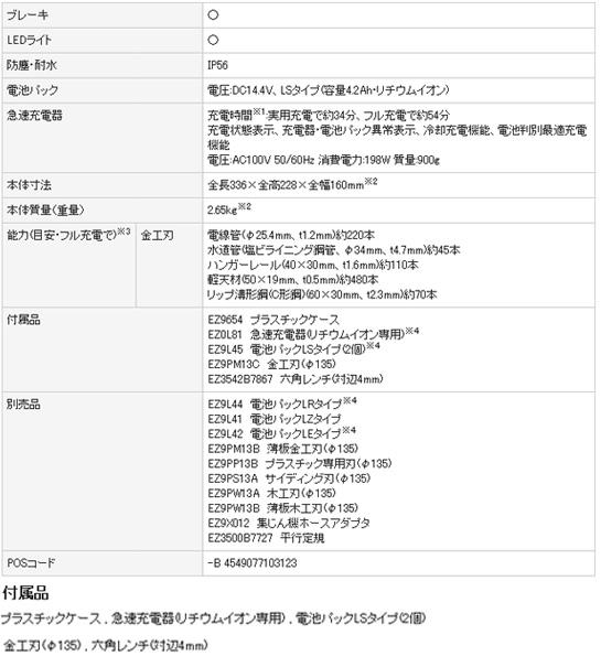 パナソニック 14.4Vパワーカッター135 EZ4542LS (電池パックLSタイプ)