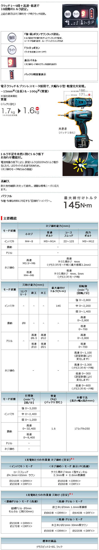 マキタ 14.4V充電式 4モードインパクトドライバ TP131D(4.0Ah電池)