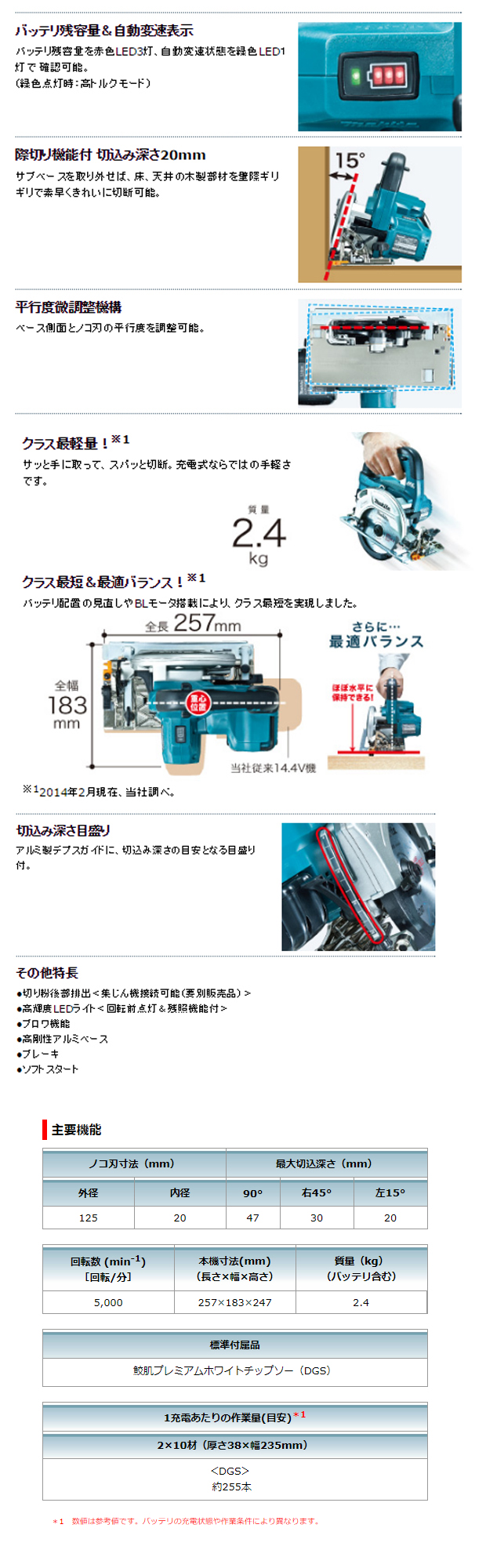 マキタ 14.4V 充電式丸のこ HS470DGS