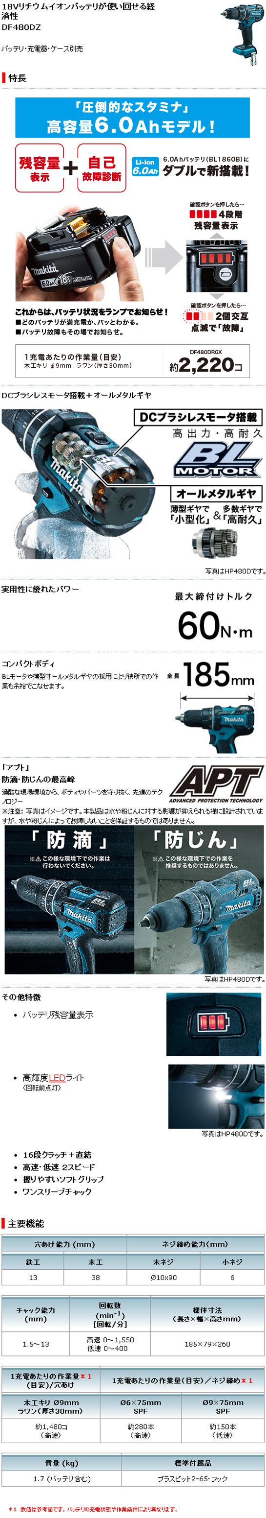 マキタ 18V充電式ドライバドリル DF480DRGX(6.0Ah)