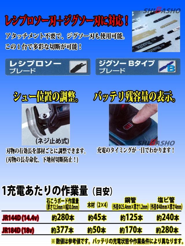 マキタ 14.4V充電式レシプロソー JR144D