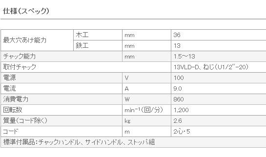 日立 電気ドリル D13
