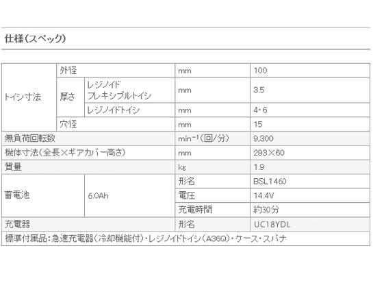 日立 14.4V コードレスディスクグラインダ G14DSL(LYPK)
