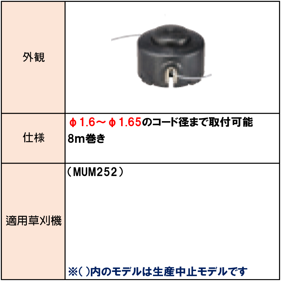 マキタ ナイロンコード付きスプール 8m巻き  A-40808