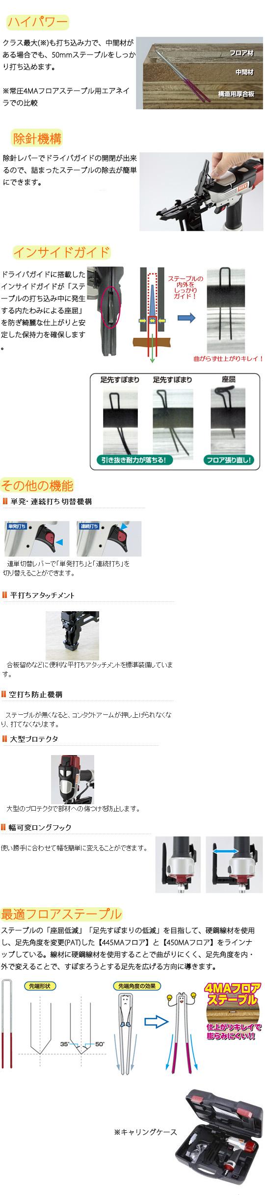 MAX 常圧ステープル用エアネイラ TA-450F1/4MAフロア