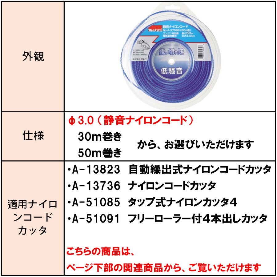 マキタ 静音予備ナイロンコード Φ3.0 A-37580/A-37596