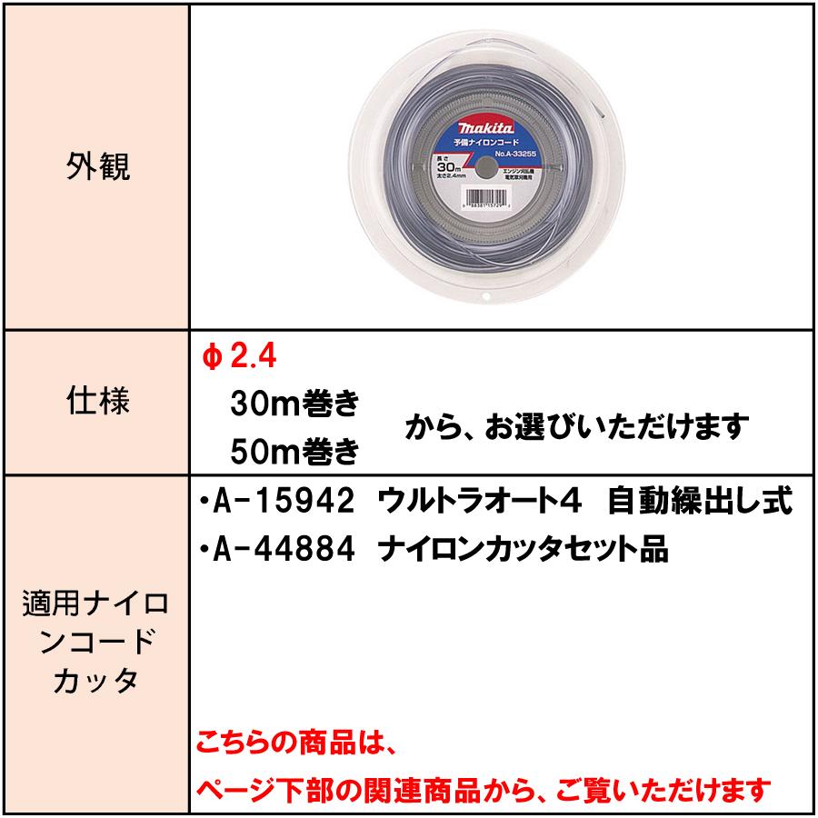 マキタ 予備ナイロンコード φ2.4 30m巻き/50m巻き A-33255/A-33261