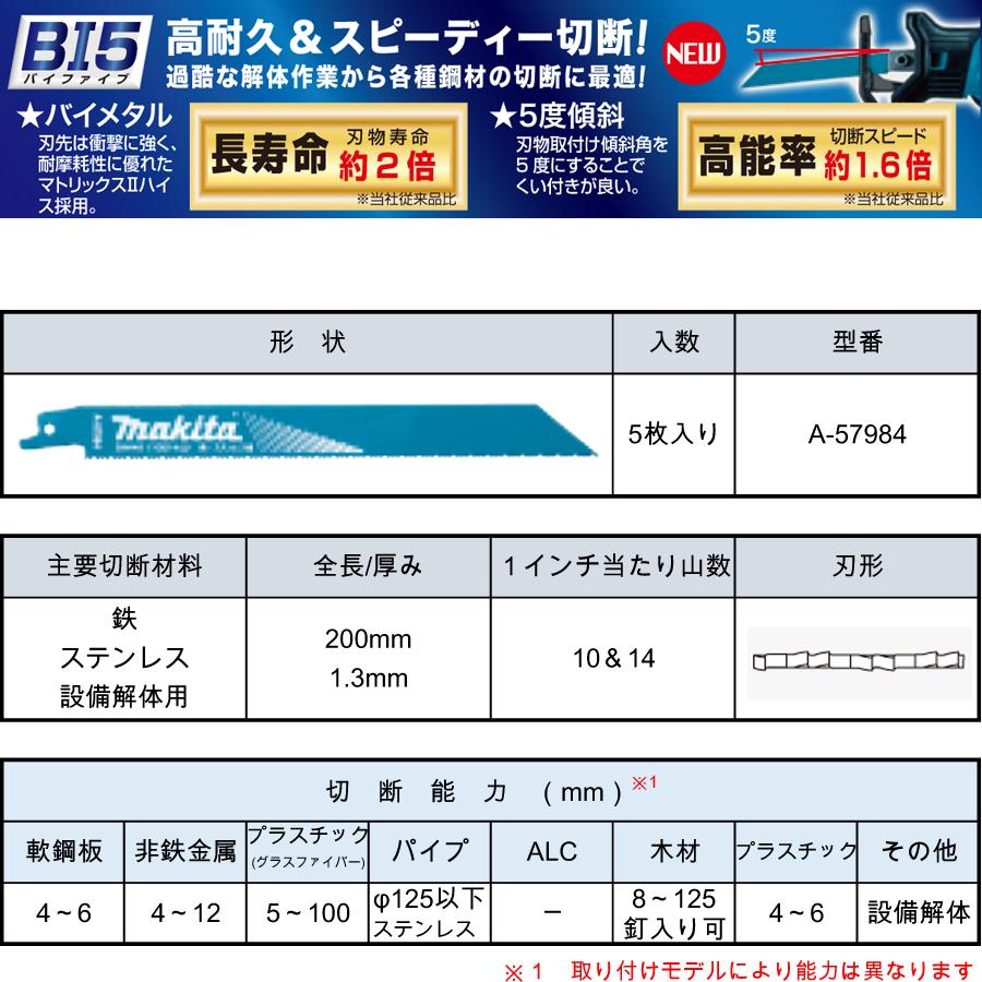 マキタ レシプロソーブレード BIM48(5枚入り) 鉄・ステンレス・設備解体用 A-57984