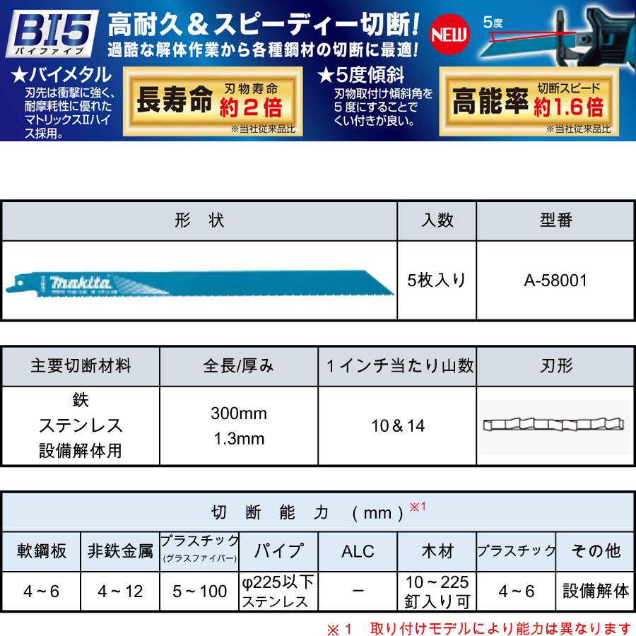 マキタ レシプロソーブレード BIM50(5枚入り) 鉄・ステンレス・設備解体用 A-58001