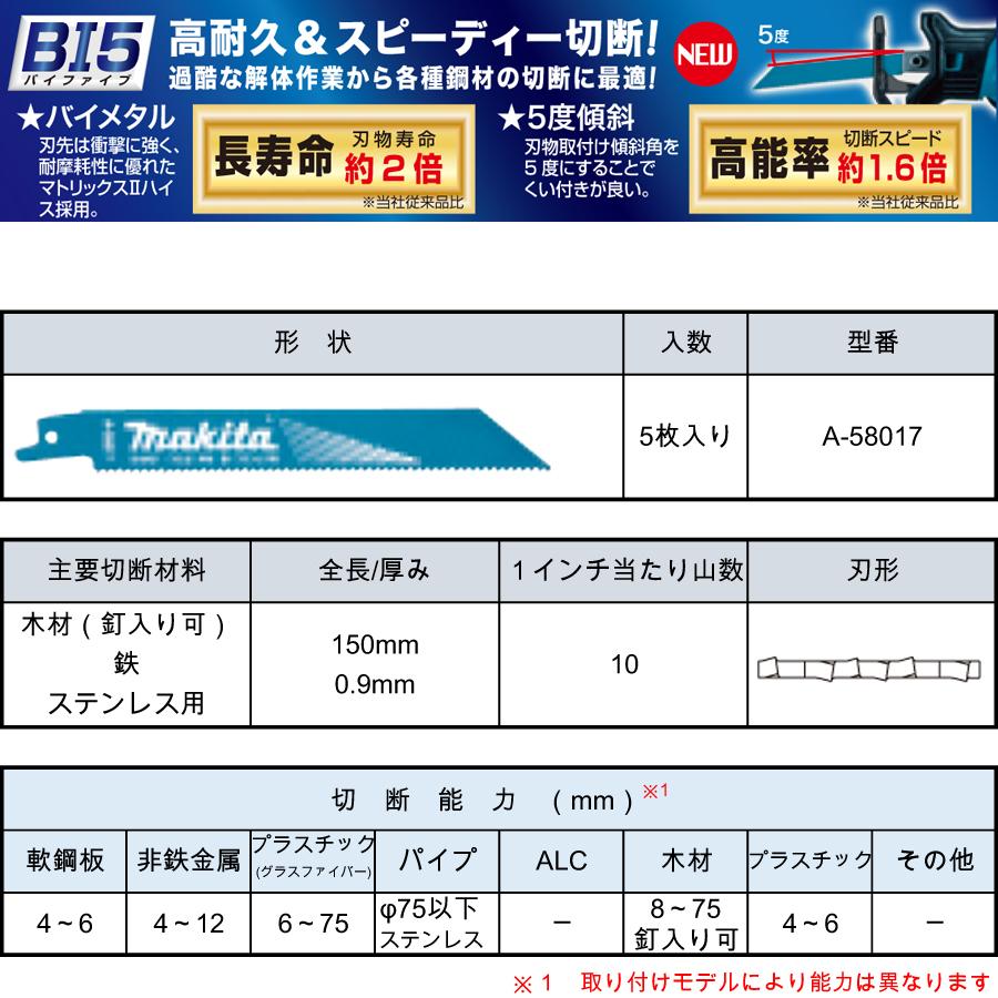 マキタ レシプロソーブレード BIM51(5枚入り) 木材(釘可)・鉄・ステンレス用 A-58017
