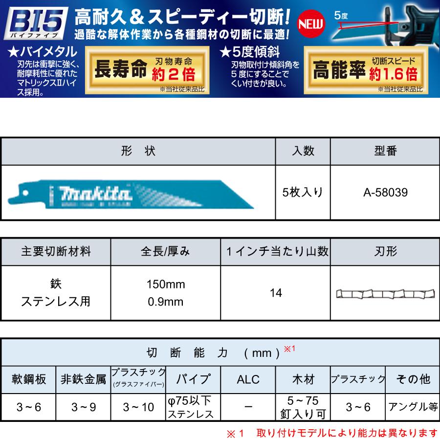 マキタ レシプロソーブレード BIM53(5枚入り) 鉄・ステンレス用 A-58039