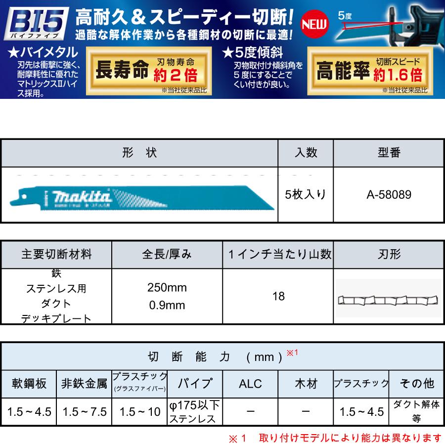 マキタ レシプロソーブレード BIM58(5枚入り) 鉄・ステンレス用・ダクト・デッキプレート A-58089