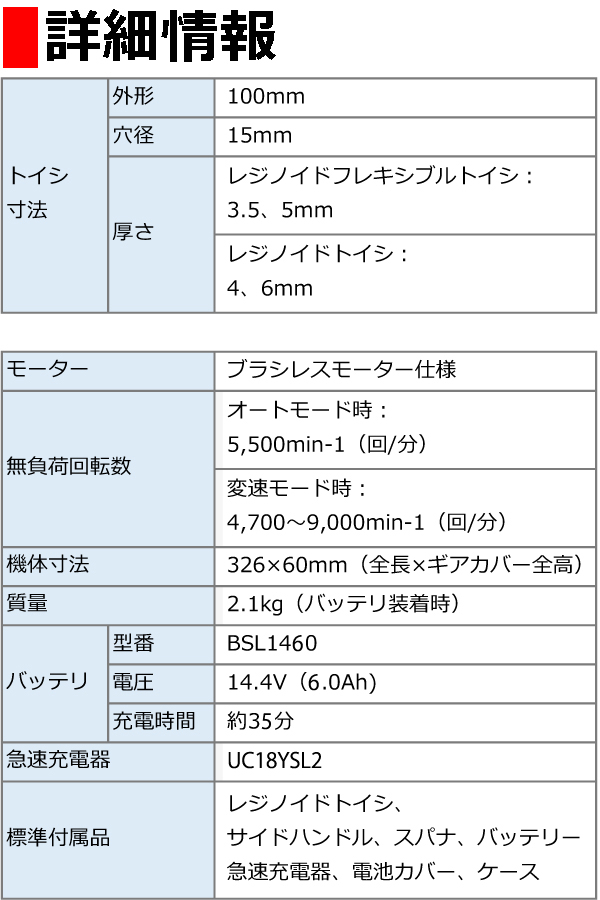 日立 14.4V(6.0Ah)100mmコードレスディスクグラインダ G14DBVL