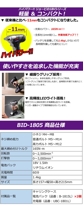 リョービ 18V(1.5Ah) 充電式インパクトドライバ BID-1805