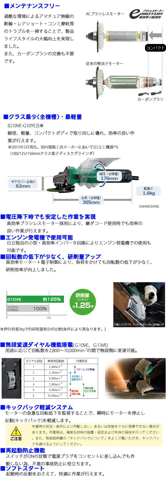 日立 電子ディスクグラインダ G10VE