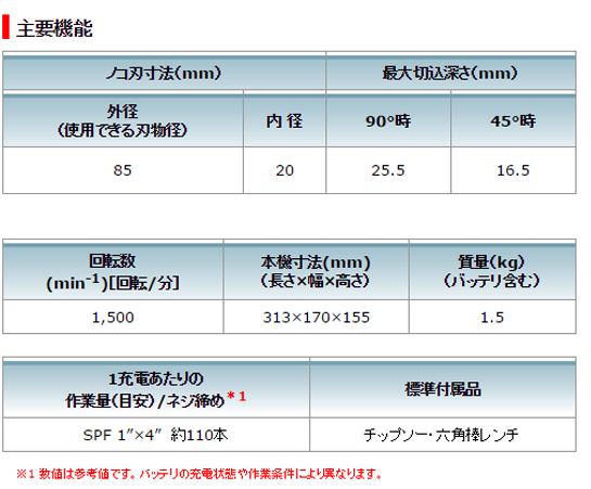マキタ 85mm 充電式マルノコ HS301DSH