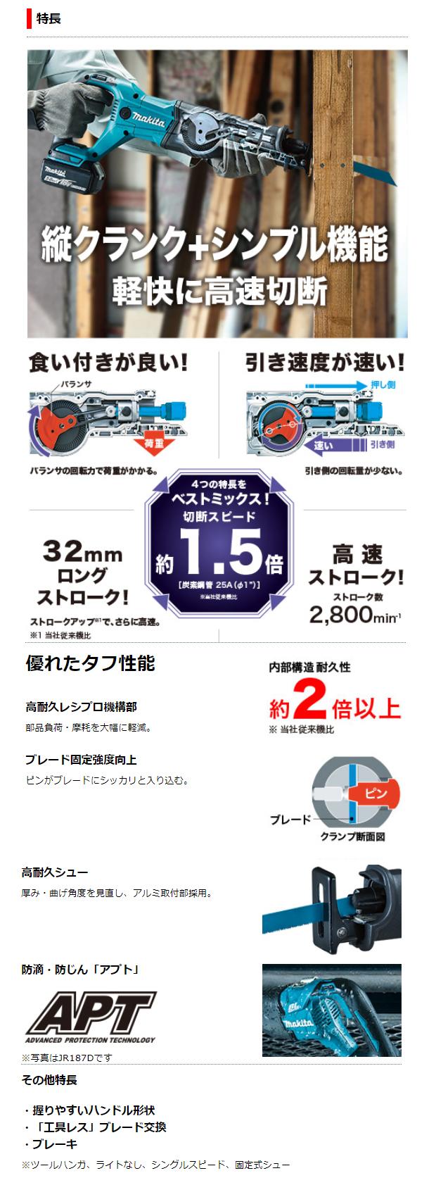 マキタ 18V充電式レシプロソー JR186D