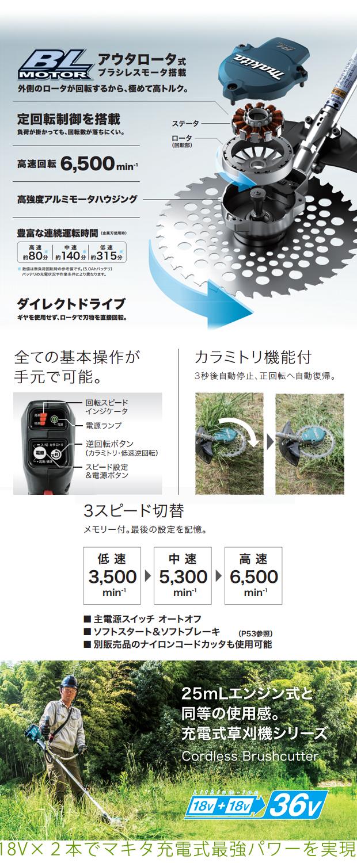 マキタ 充電式草刈機 ループハンドル MUR366DPG2