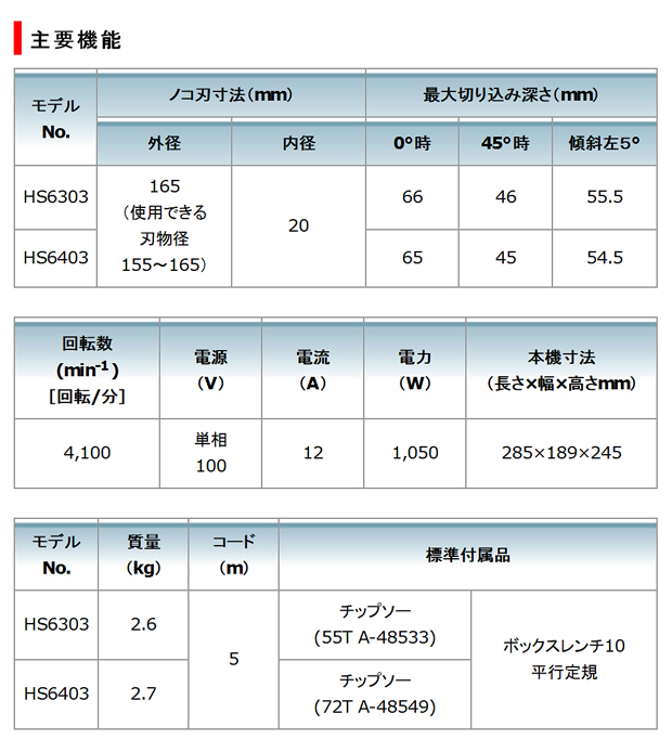 マキタ 165mm電子マルノコ HS6303/B  HS6403