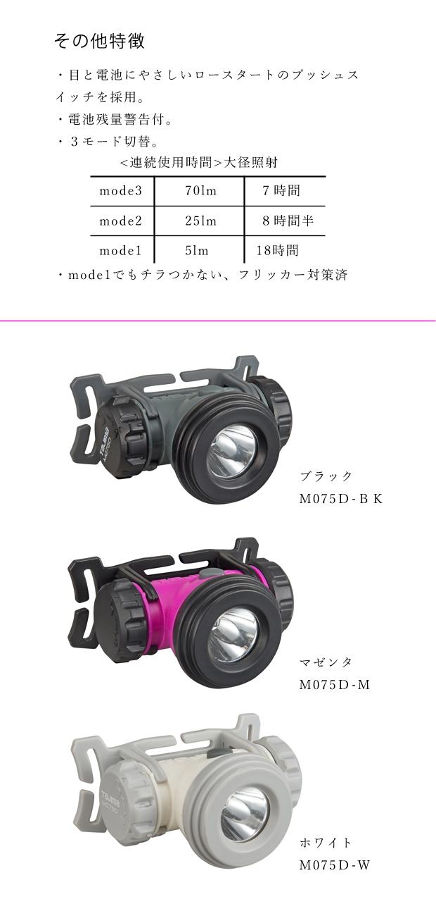 タジマ ベーシックライトシリーズ LEDヘッドライト M075D