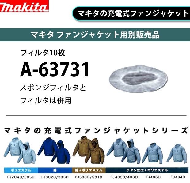 マキタ ファンジャケット用別販売品 フィルタ10枚 A-63731