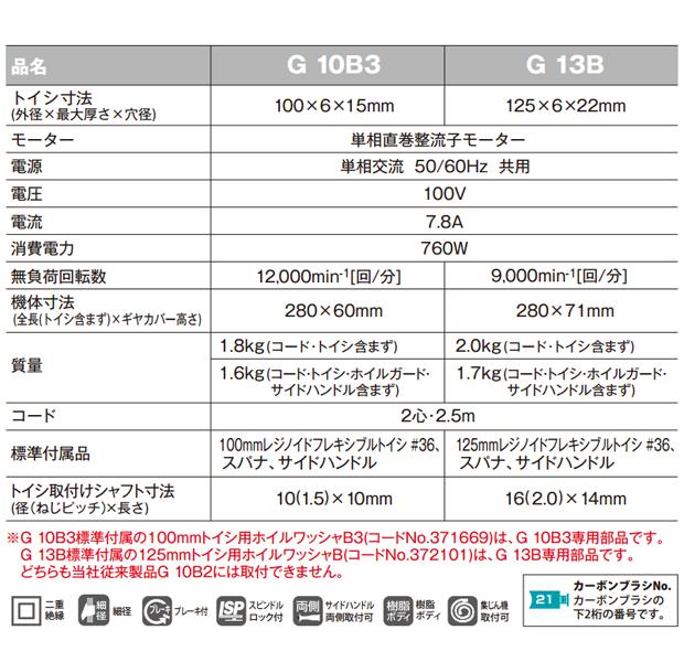 日立 ブレーキ付100mmディスクグラインダ G10B3