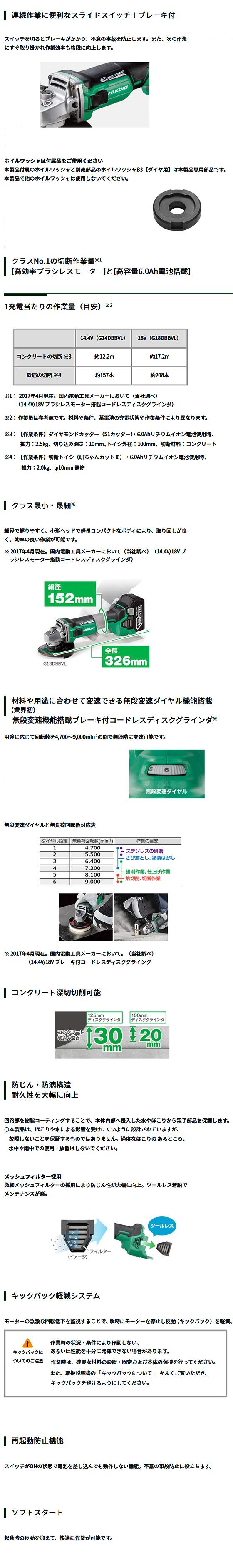日立 18V-6.0Ah コードレスディスクグラインダ(ブレーキ付) G18DBBVL