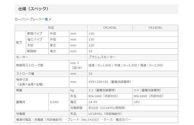 日立 14.4V-6.0Ah コードレスセーバソーCR14DBL