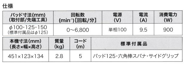 マキタ 125mmランダムオービットポリッシャ PO5000C