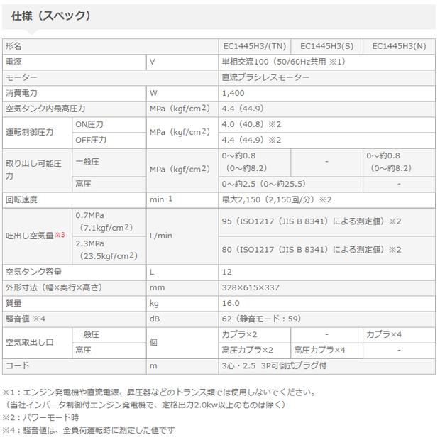 日立 高圧エアコンプレッサEC1445H3(S)高圧専用(セキュリティ機能なし)