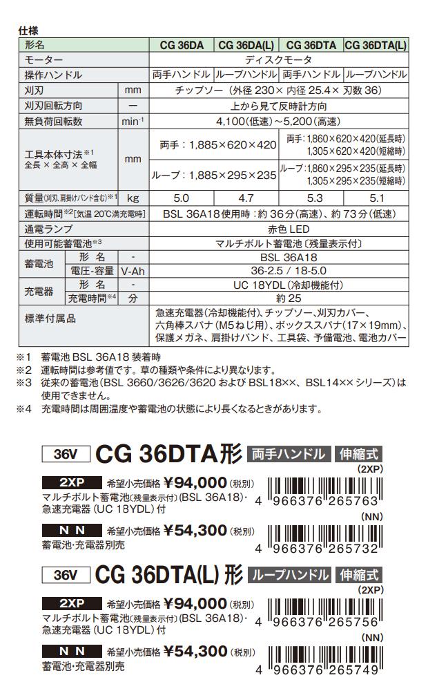 日立 マルチボルト コードレス刈払機 伸縮式 CG36DTA/CG36DTA(L)