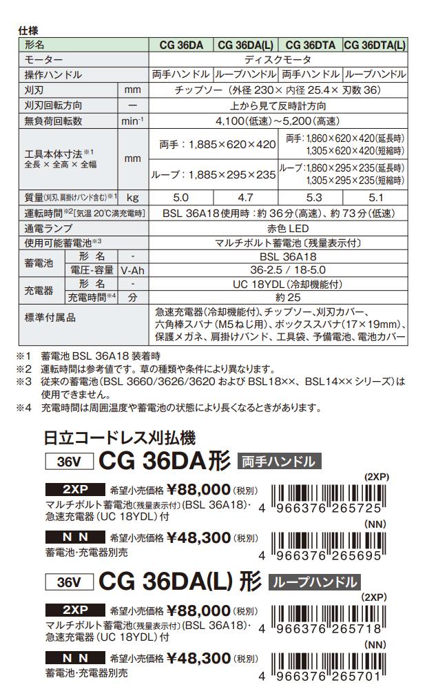 日立 マルチボルト コードレス刈払機 CG36DA/CG36DA(L)