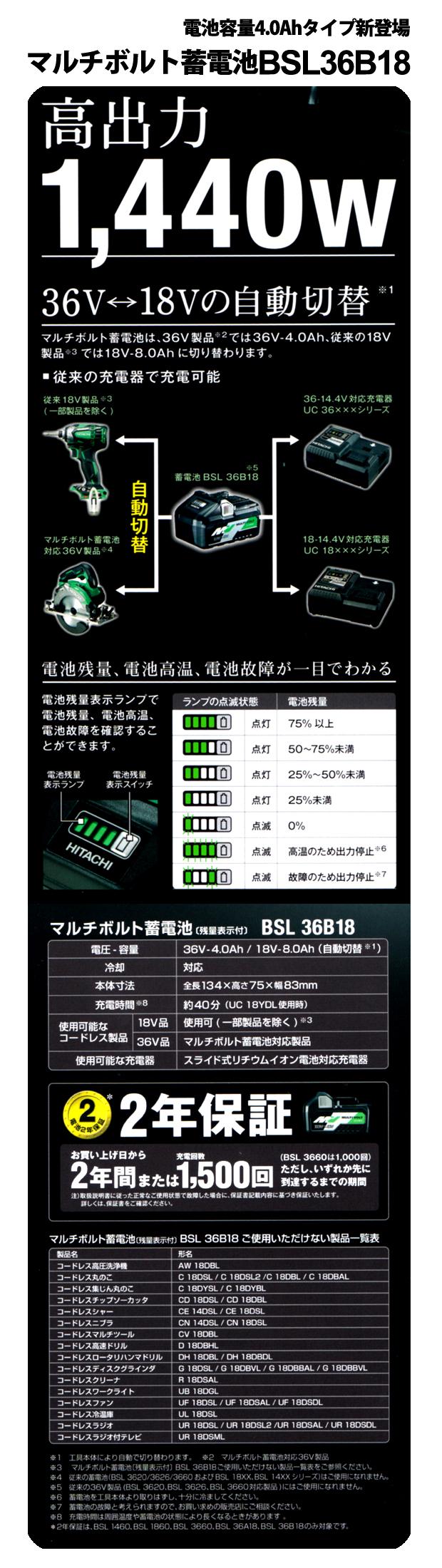 日立 マルチボルト蓄電池 BSL36B18 (36V-4.0Ah/18V-8.0Ah)