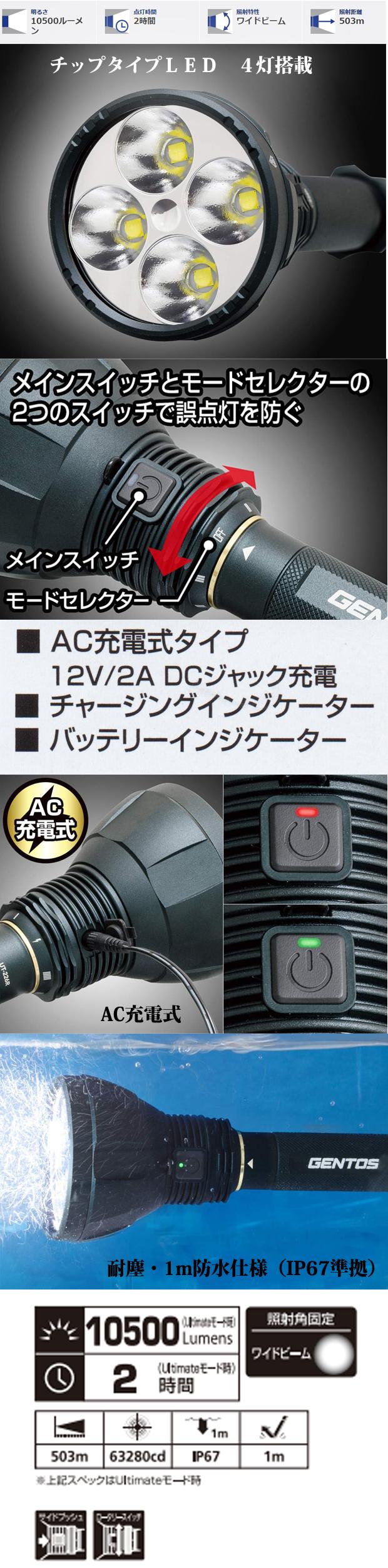GENTOS ハイパワーLEDフラッシュライトUT-226R