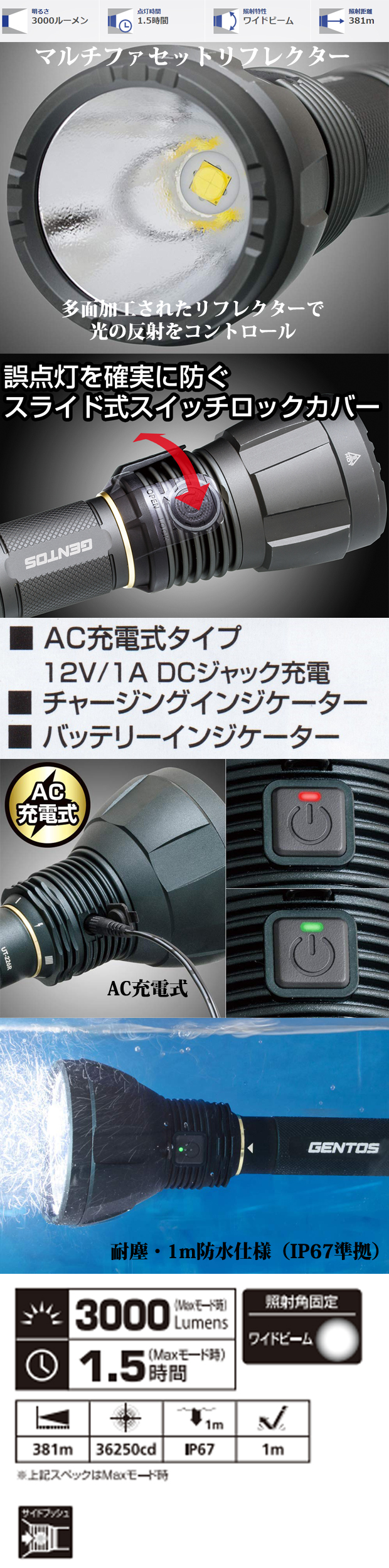 GENTOS ハイパワーLEDフラッシュライトUT-3000R