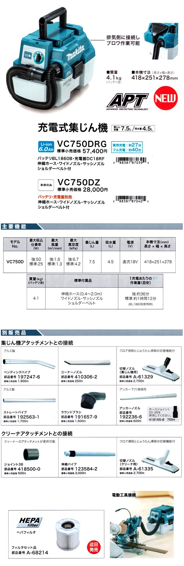 マキタ 充電式集じん機 VC750D