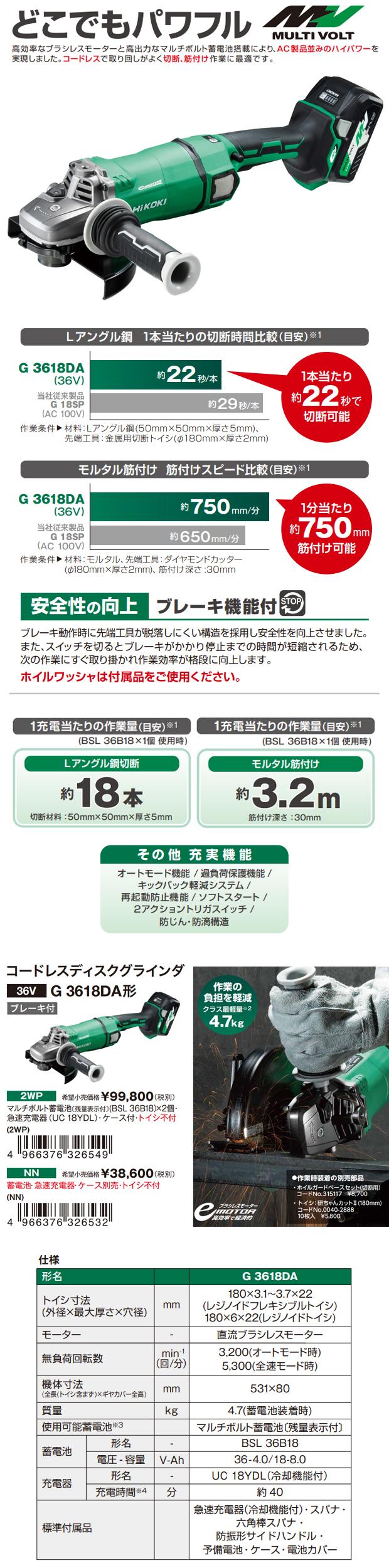 HiKOKI コードレスディスクグラインダ(ブレーキ付)  G3618DA