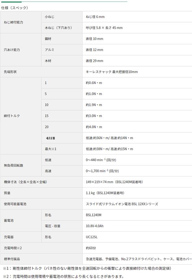 HiKOKI 10.8VコードレスドライバドリルDS12DD